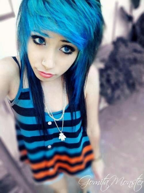Pretty Girls With Blue Hair Pin by Satan or...