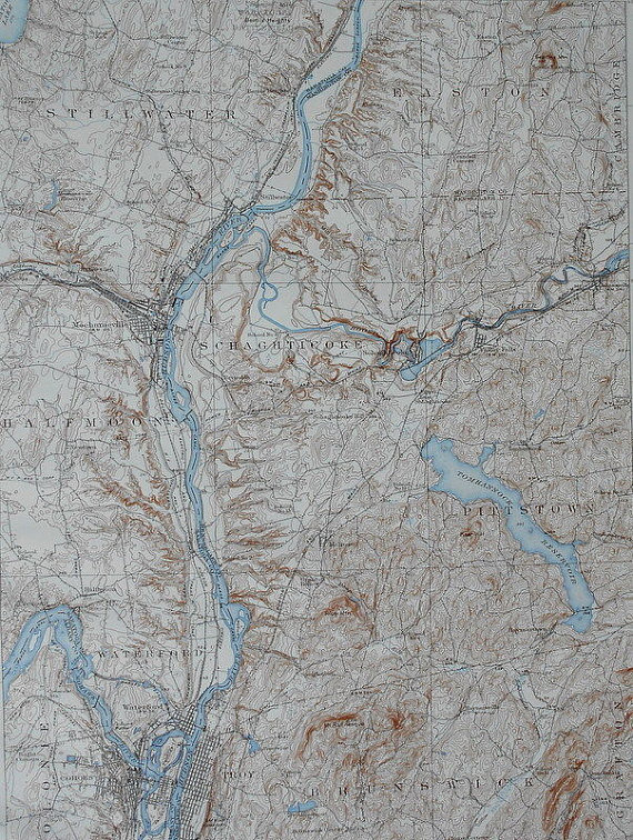 1937 Vintage Topographic Map Stillwater Easton Scaghticoke