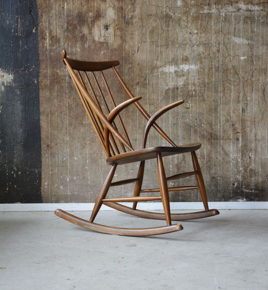 50er ILLUM WIKKELSO Schaukelstuhl Sessel DANISH DESIGN 50s Rocking Chair  60s In Antiquitäten U0026 Kunst, Design Ideas