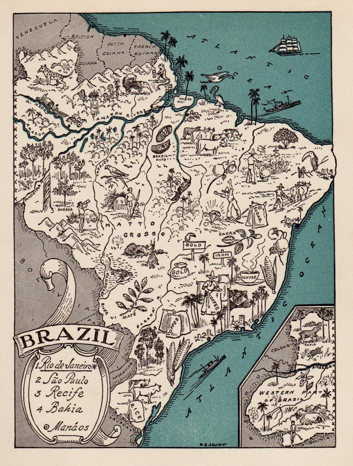 1940s BRAZIL Picture Map Pictorial Map of Brazil Print Travel Map