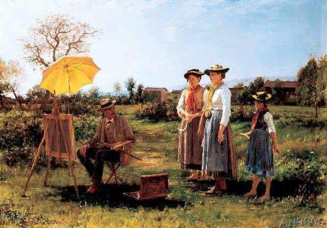 """Demetrio Cosola (San Sebastiano da Po, 1851- Chivasso,1895) """"Il pittore e le contadine (autoritratto)"""", 1892 Coll. priv."""