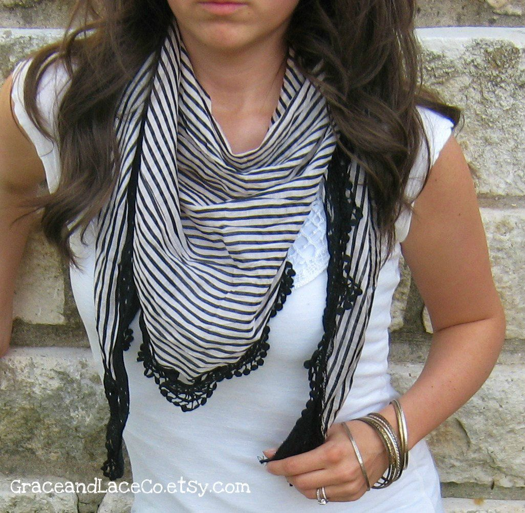 SALE Lace Striped Scarf - white/black. lace scarf - shawl - lightweight scarf - lacey scarf - spring scarf (item no. S1-34 ). $17.00, via Etsy.