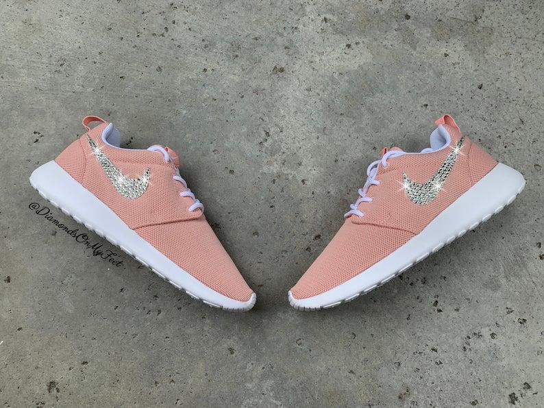 Swarovski Women's Nike Roshe One Run Coral Pink Sneakers