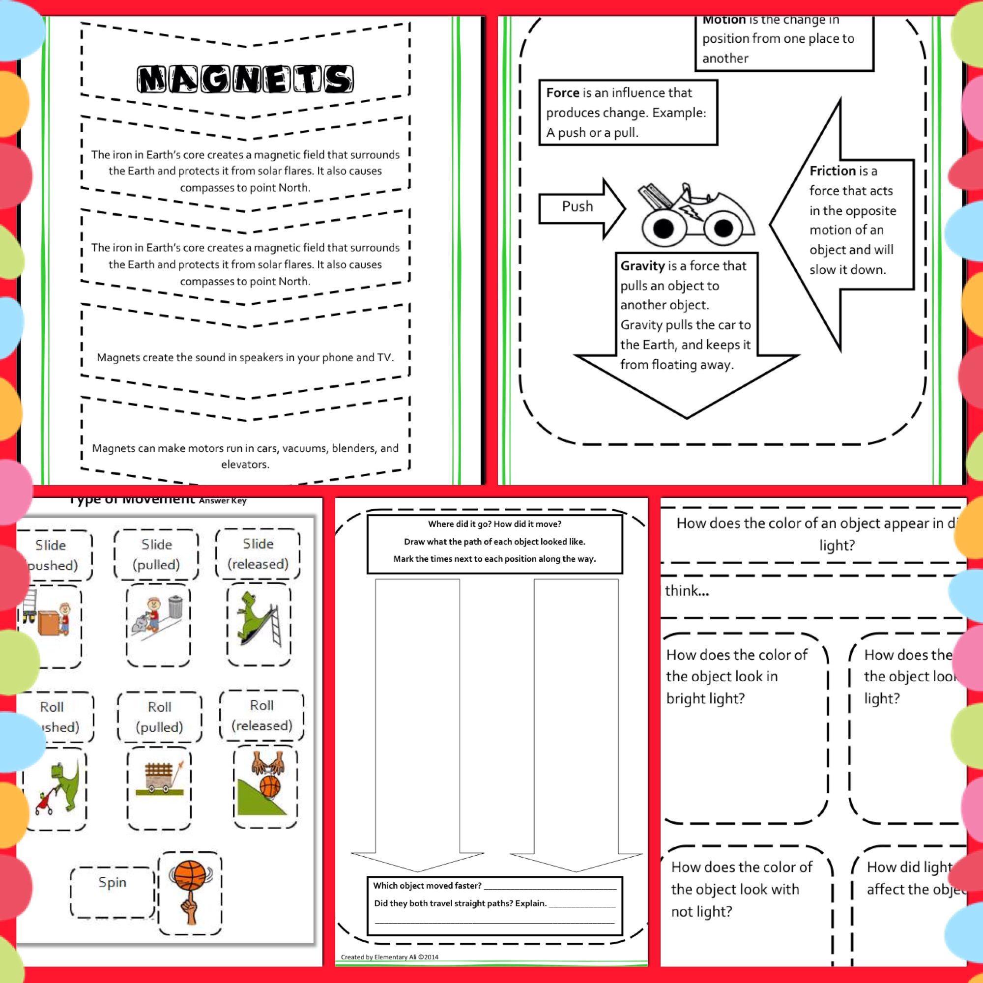 2nd Grade Interactive Science Notebook Force Motion