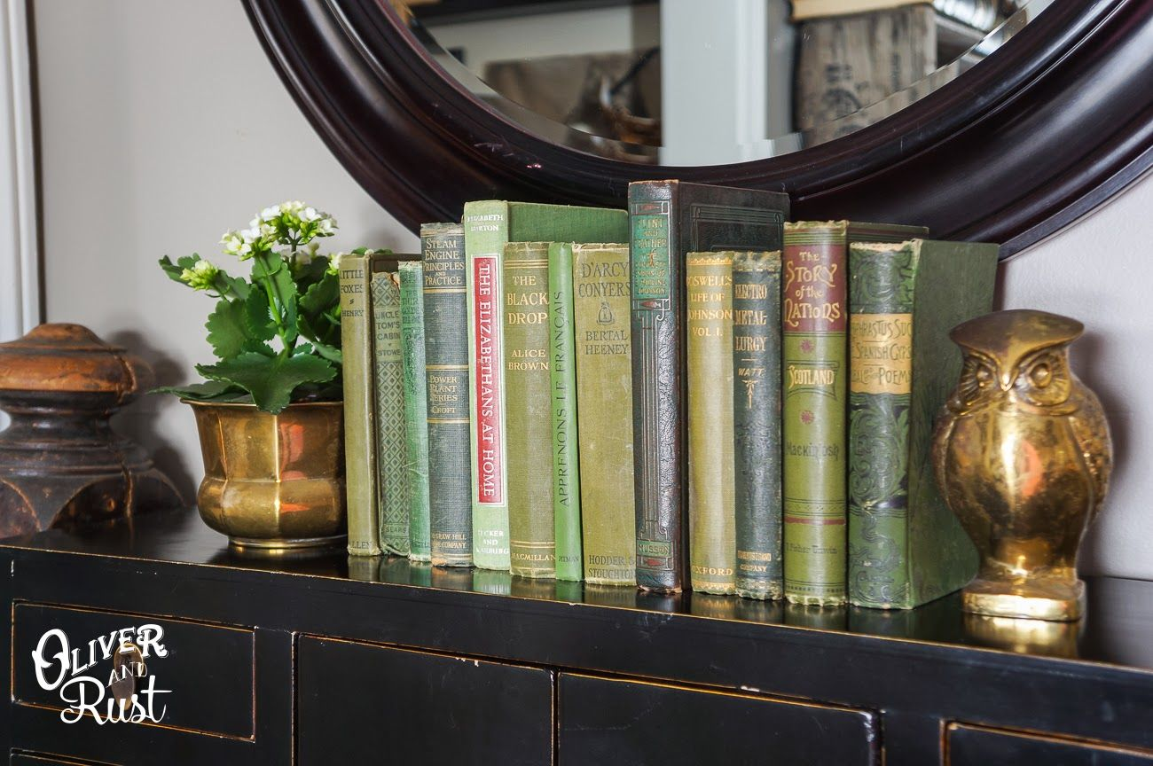 green vintage books. Late winter, Tv display, Rust store
