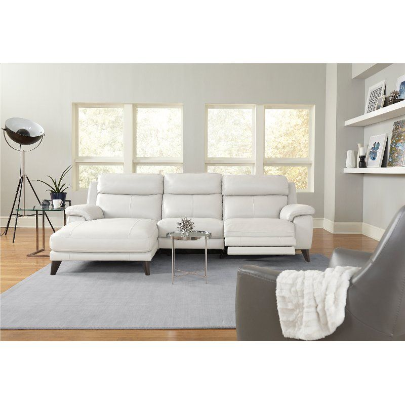 Frost White Leather-Match Power Reclining Sofa with Left-arm ...