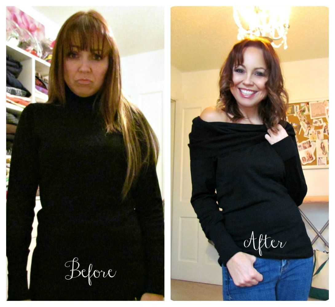 deconstructed sweater, turtleneck to cowlneck, easy sewing | Re ...