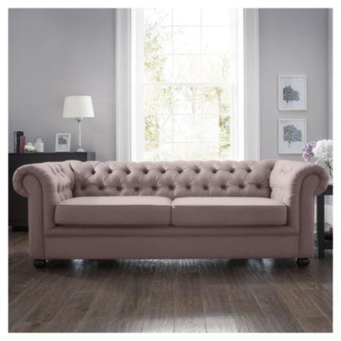 Chesterfield Velvet Effect Fabric Sofa Bed Mink 163 699