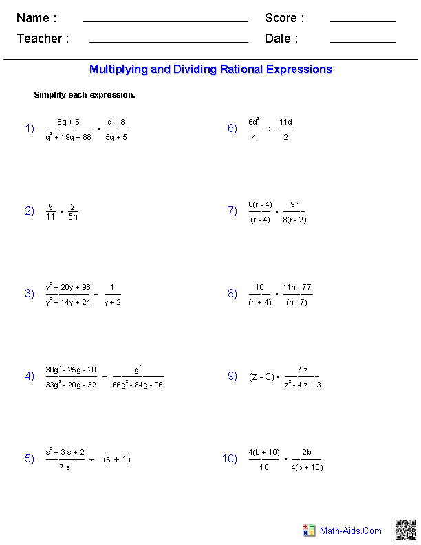 Multiplying and Dividing Rational Expressions Worksheets – Simplifying Expressions Worksheets