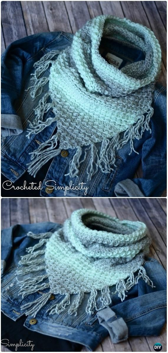 Crochet Infinity Scarf Cowl Neck Warmer Free Patterns | Schals und ...