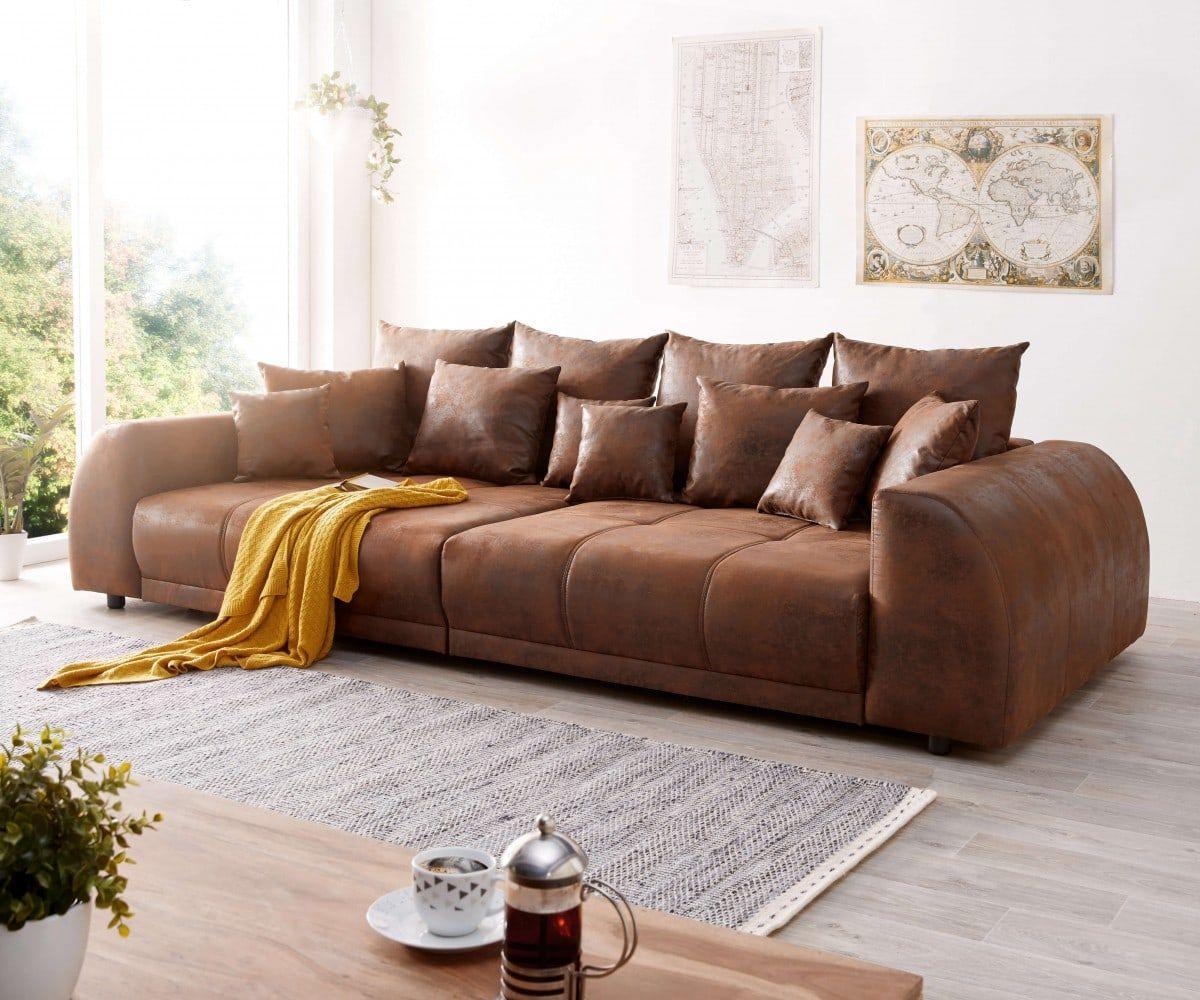 Big Sofa Violetta 310x135 Cm Braun Antik Optik Mit Kissen Tiefe Couch Grosse Couch Wohnzimmereinrichtung