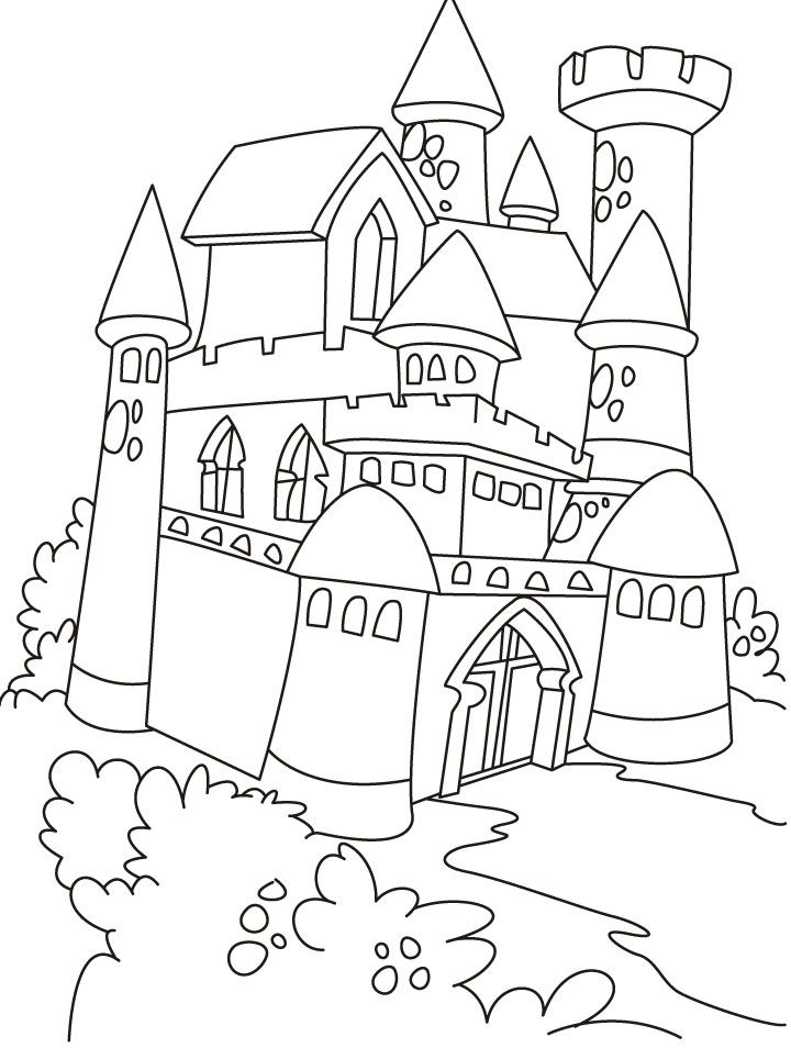 Castle And Princess Coloring Pages