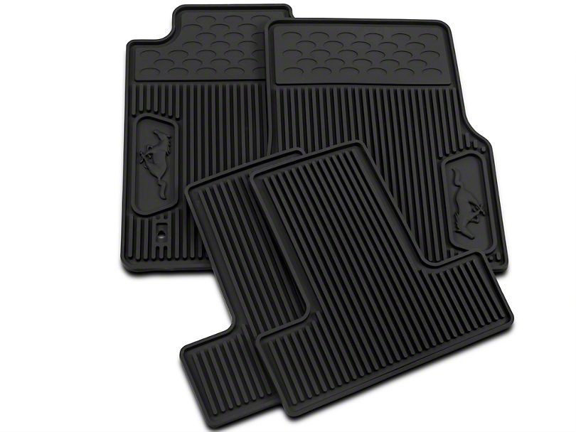 Ford Front Rear Rubber Floor Mats W Running Pony Logo Black
