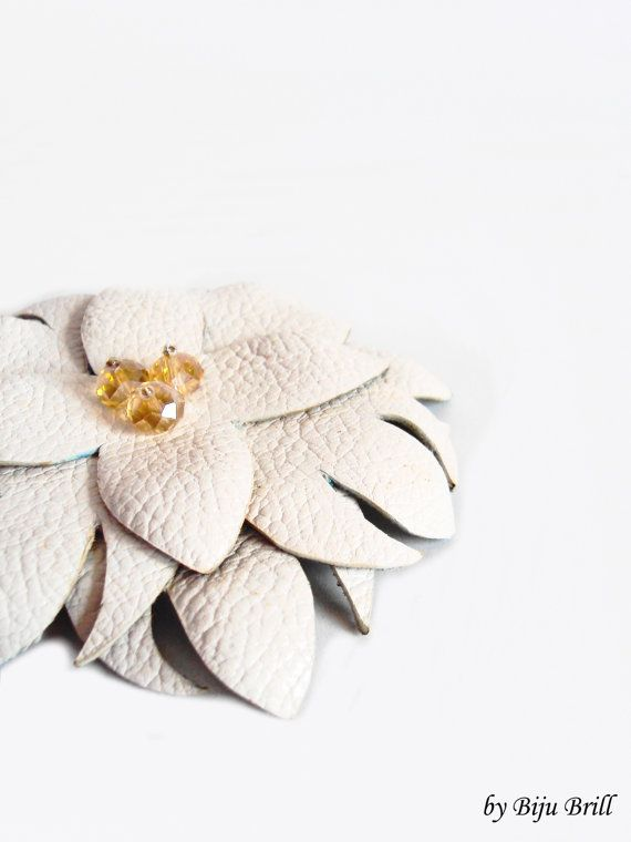 Big White Leather Flower Brooch Nude Cream Crystals by BijuBrill, $21.50