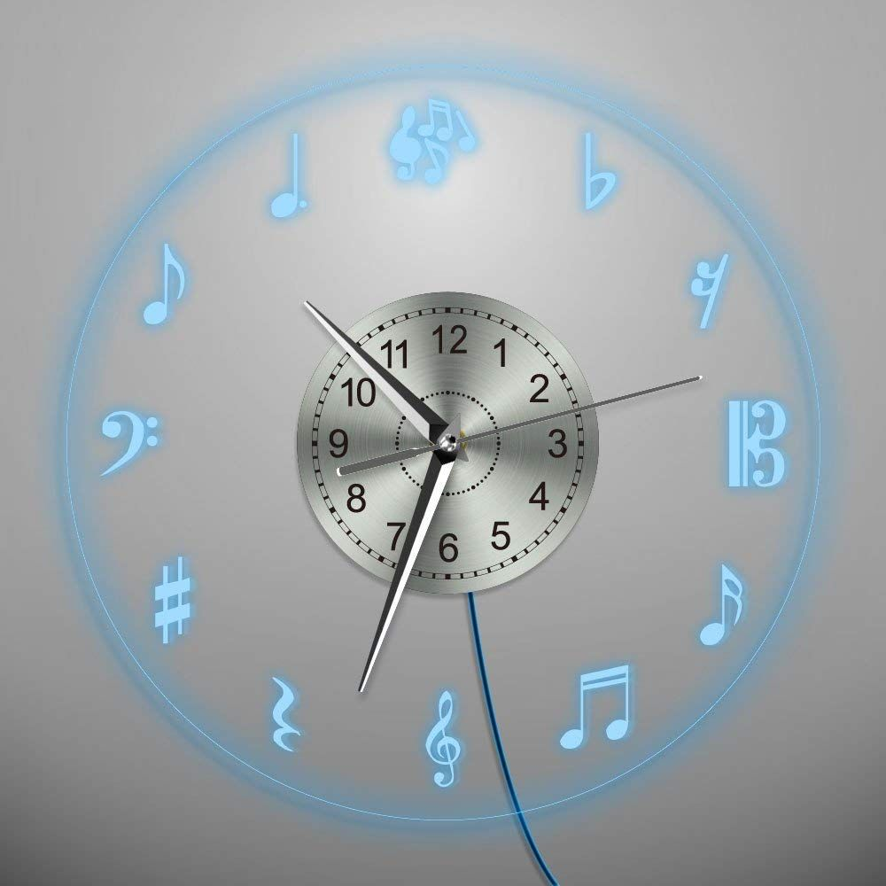 Music Notes Wall Clock Musical Theme Led Light Wall Clock Clock Wall Decor Clock