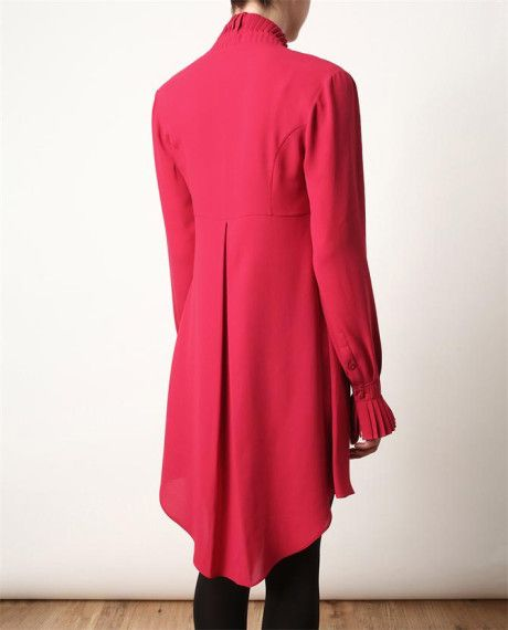 Alexander Mcqueen Crepe Silk Tunic Dress With Pleated Collar in Red (pink) - Lyst