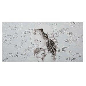 Capezzale camera da letto su tela Maternità fiori argento ...