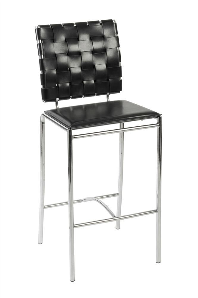 Euro Style - Basketweave Counter Stools in Black Leather and Chrome-Set of 2 - Carina-c