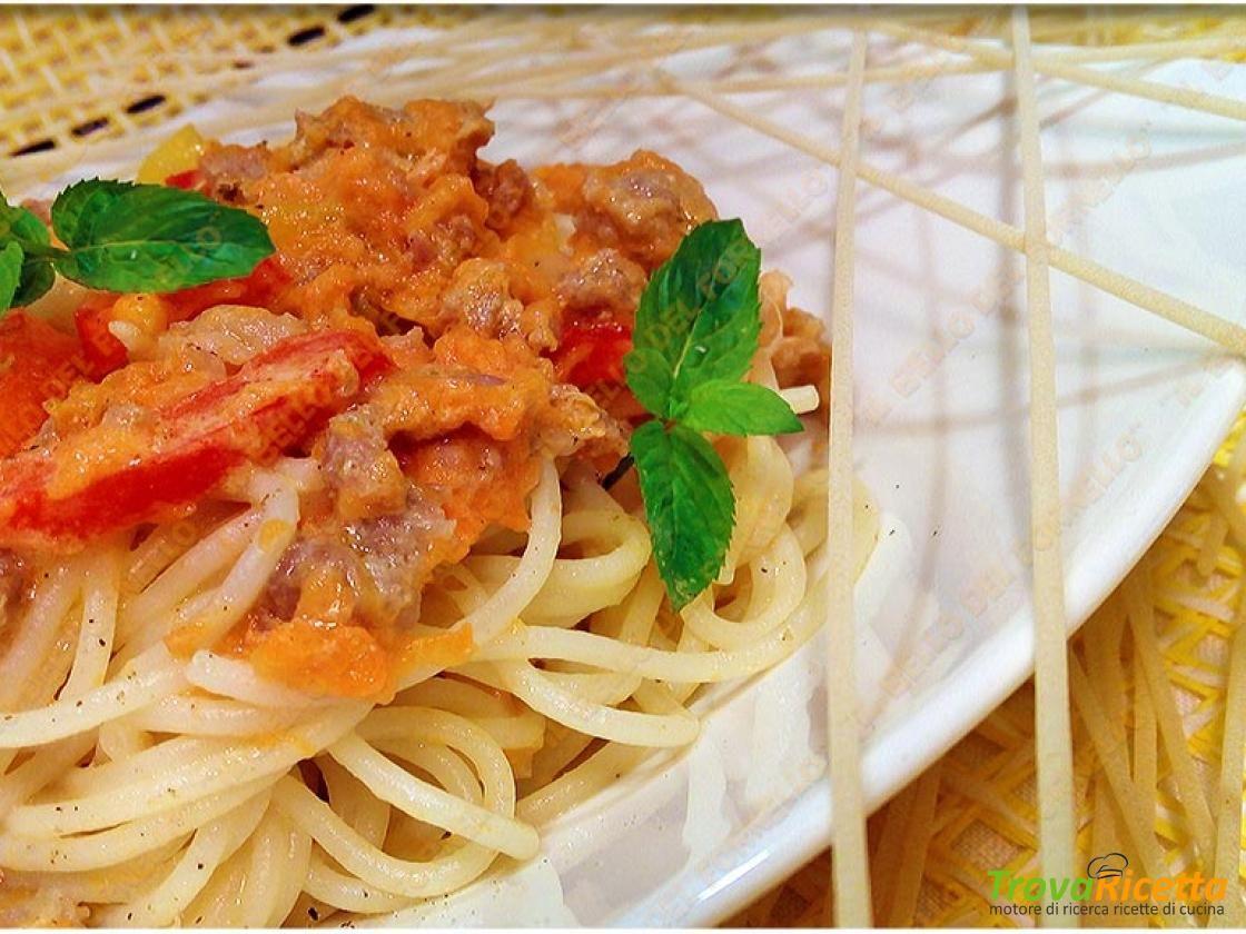 Spaghetti carota salsiccia e peperoni  #ricette #food #recipes
