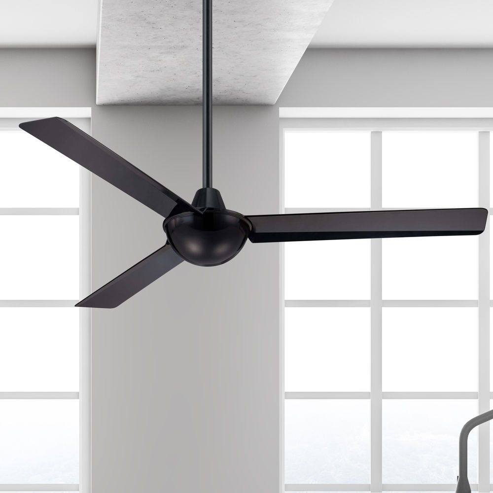 52 Inch Modern Ceiling Fan Without Light In Black Finish Ceiling