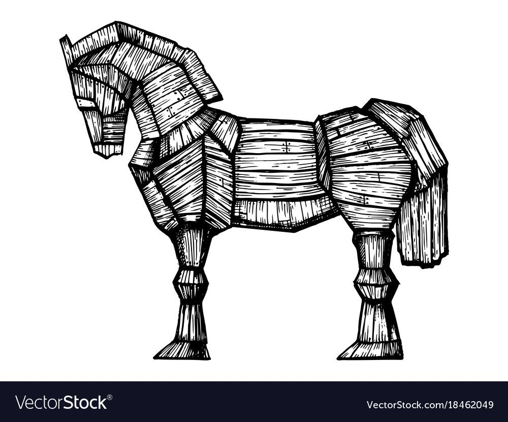 Trojan Horse Engraving Vector Image On Trojan Horse Engraving