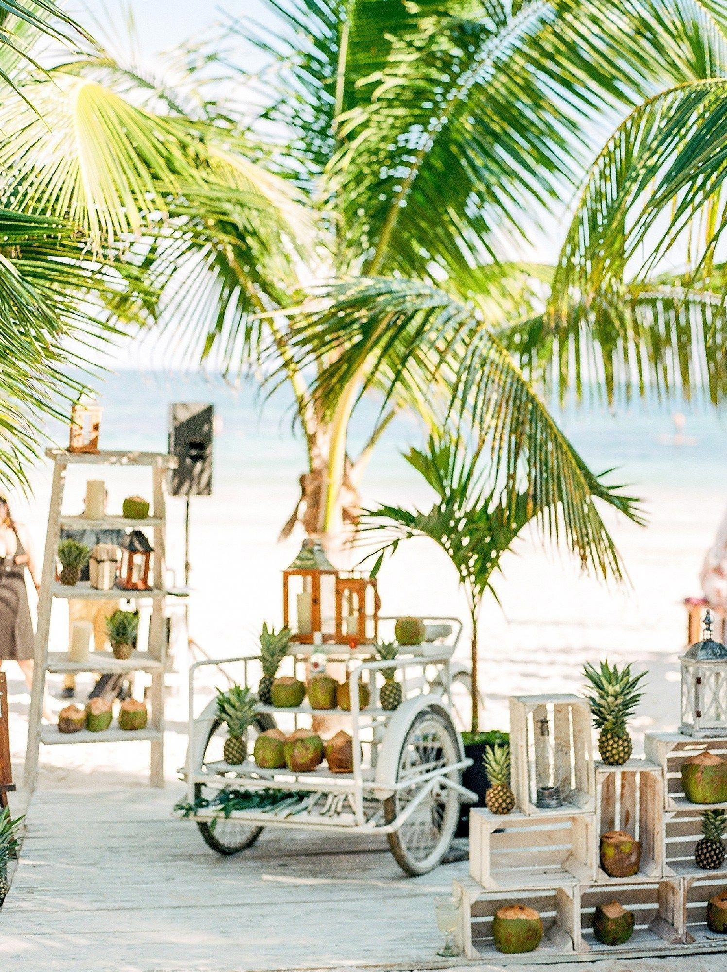 A Boho Tropical Wedding At Akiin Beach Club In Tulum Mexico Magdalena Studios Beach Wedding Decorations Tropical Home Decor Destination Wedding Photography