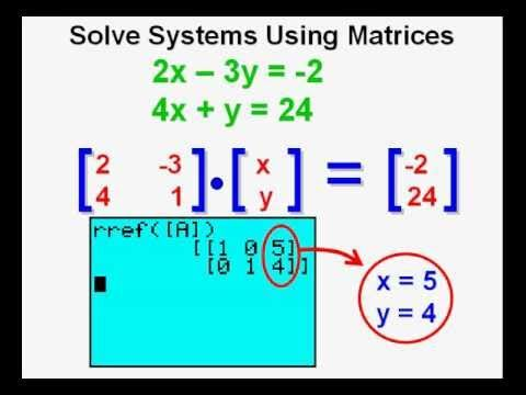Using Matrices To Solve Systems Of Equations On The Graphing Calculator School Algebra College Algebra Teaching Math