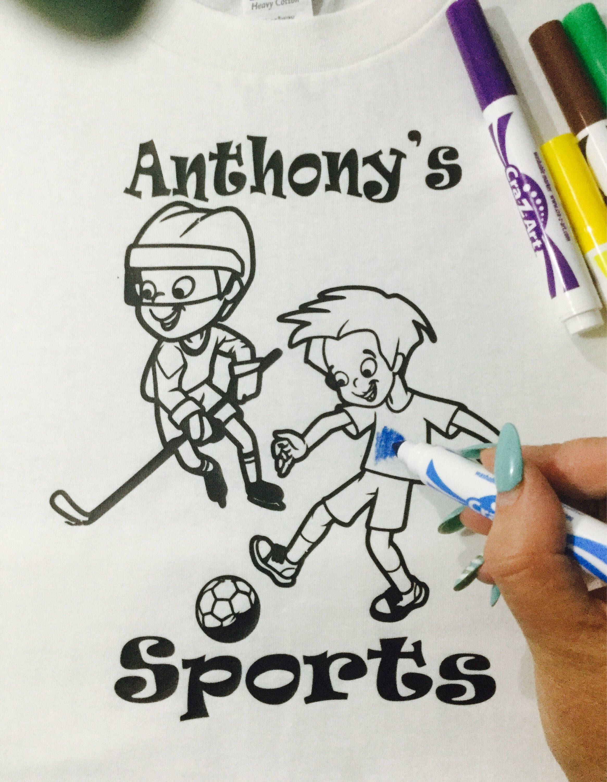 Excited To Share The Latest Addition My Etsy Shop Boys Sports Coloring T Shirts Birthday Party Favors Color Me Tees Gifts