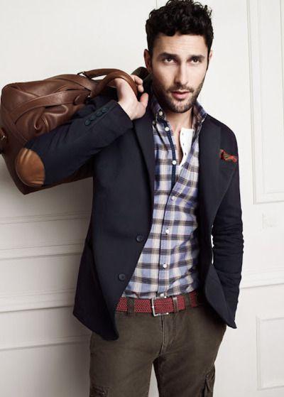 navy elbow patch blazer, plaid shirt, olive pants.