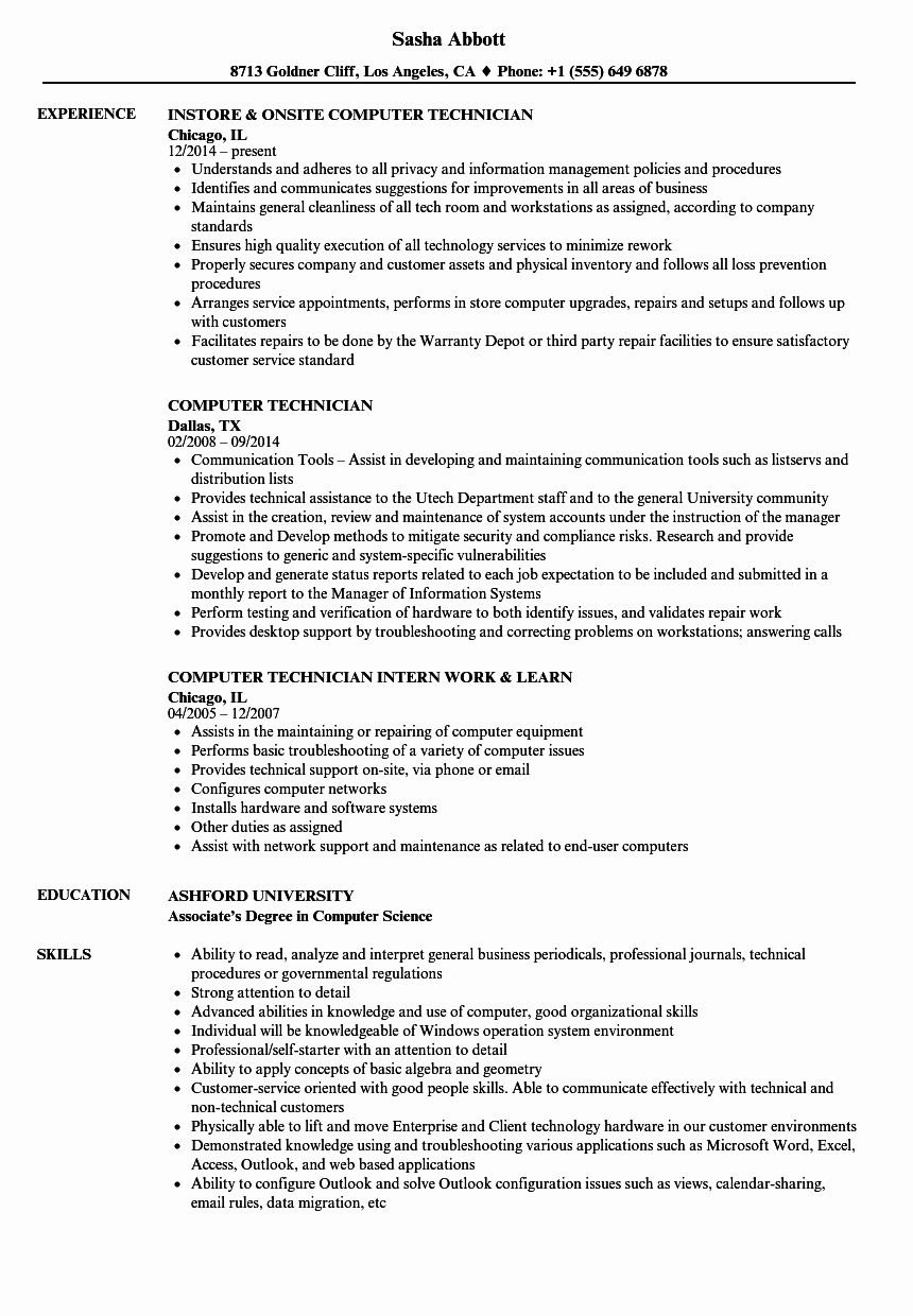 Computer support technician resume best of 20 resumes for