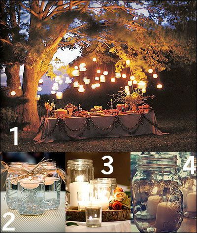 Wonderful Rustic Country Wedding Ideas: Mason Jar Tea Lights