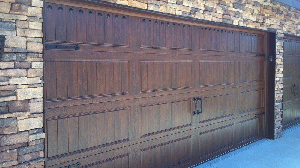 @C.H.I. Overhead Doors Model 5983 Steel Carriage House Style Garage Door In  Accents Dark Oak | Faux Wood Garage Doors | Pinterest | Garage Doors, ...