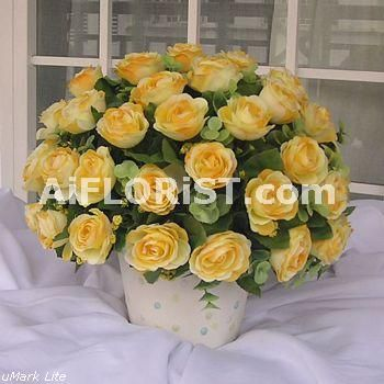 Yellow Rose Sprays And Green Eucalyptus Leaves Arrange In All Round Dome Shape Perfectly Match With A Round Soft Online Florist Funeral Flowers Flower Pots