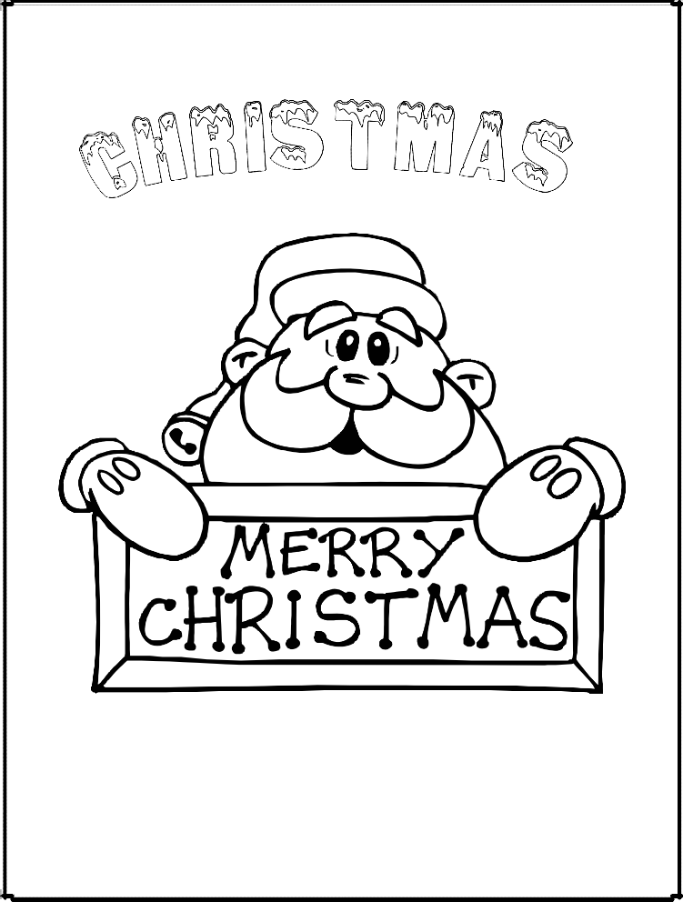 Letras de navidad en ingles con santa clos para colorear y