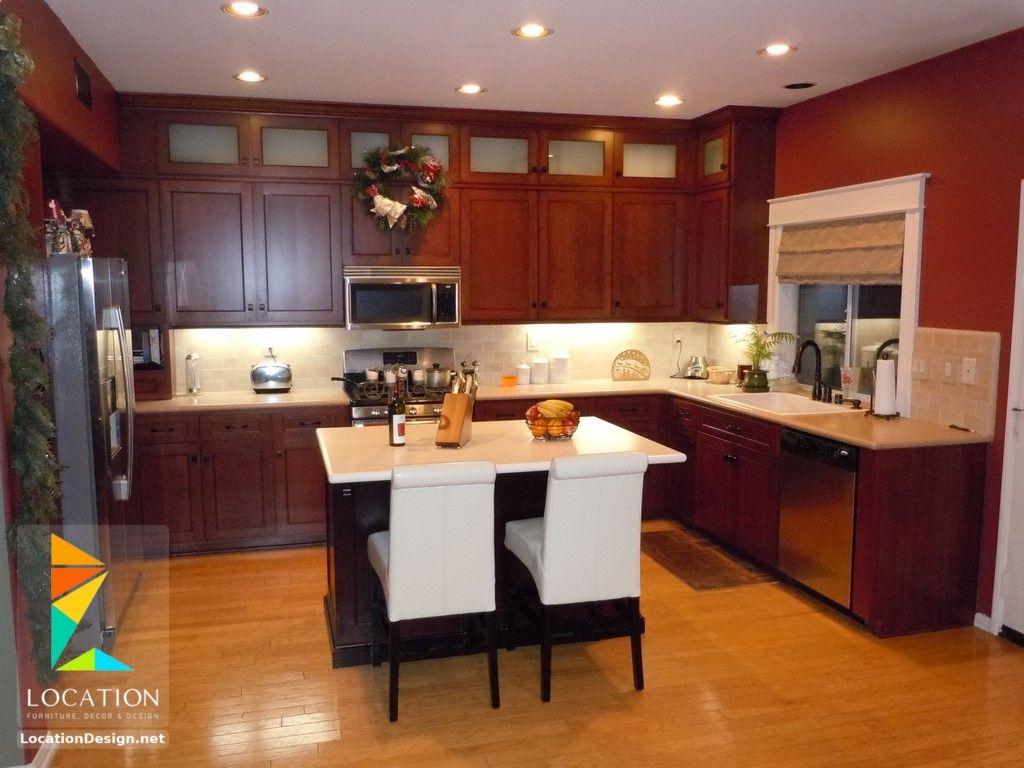 أشكال مطابخ خشبية بتصميمات عصرية دهانات مطابخ خشب 2017 2018 Kitchen Layout Kitchen Remodel Small Small Kitchen Decor