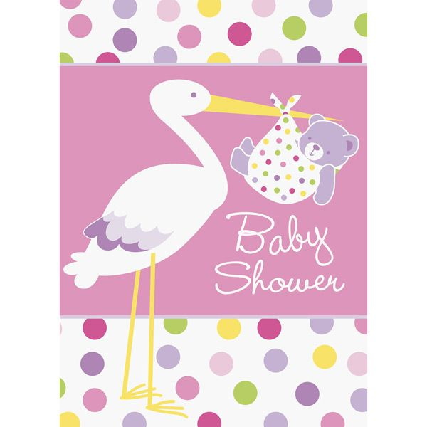 Baby girl stork invites fast shipping 8 per package for Baby shower decoration packages