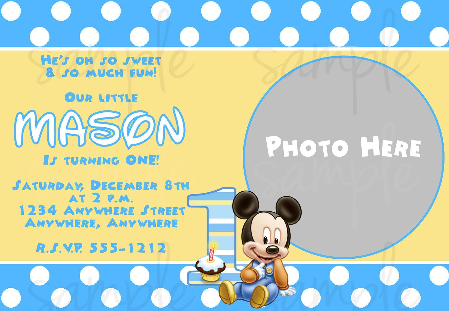 Free Printable Baby Mickey Mouse 1st Birthday Invitations