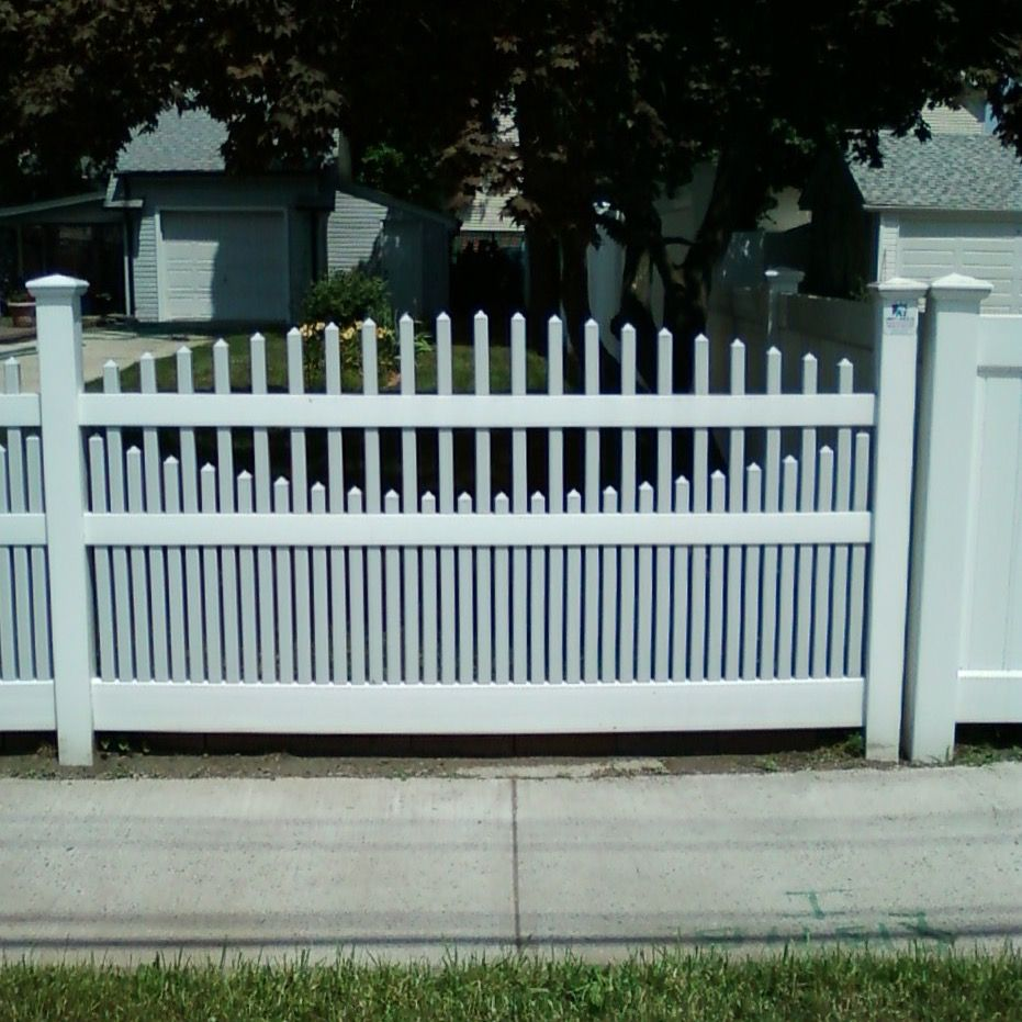 4 two tone grey and white convexconcave vinyl saturn scallop find this pin and more on double virgin vinyl fences gates baanklon Images