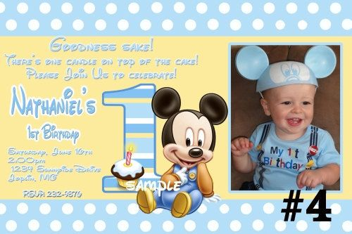 20 Printed Baby Mickey Mouse First Birthday Invitations Photo 1st