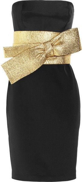 NOTTE BY MARCHESA   Bow Front Silk Crepe Dress