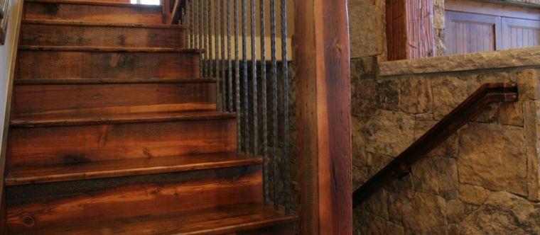 escaleras madera barras acero forjado Interiores Pinterest - escaleras de madera rusticas