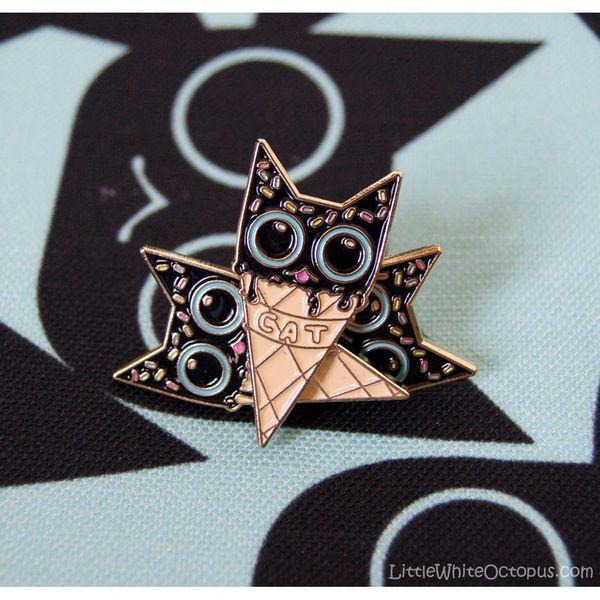 Image of Motoki Kitty Cone Enamel Pin