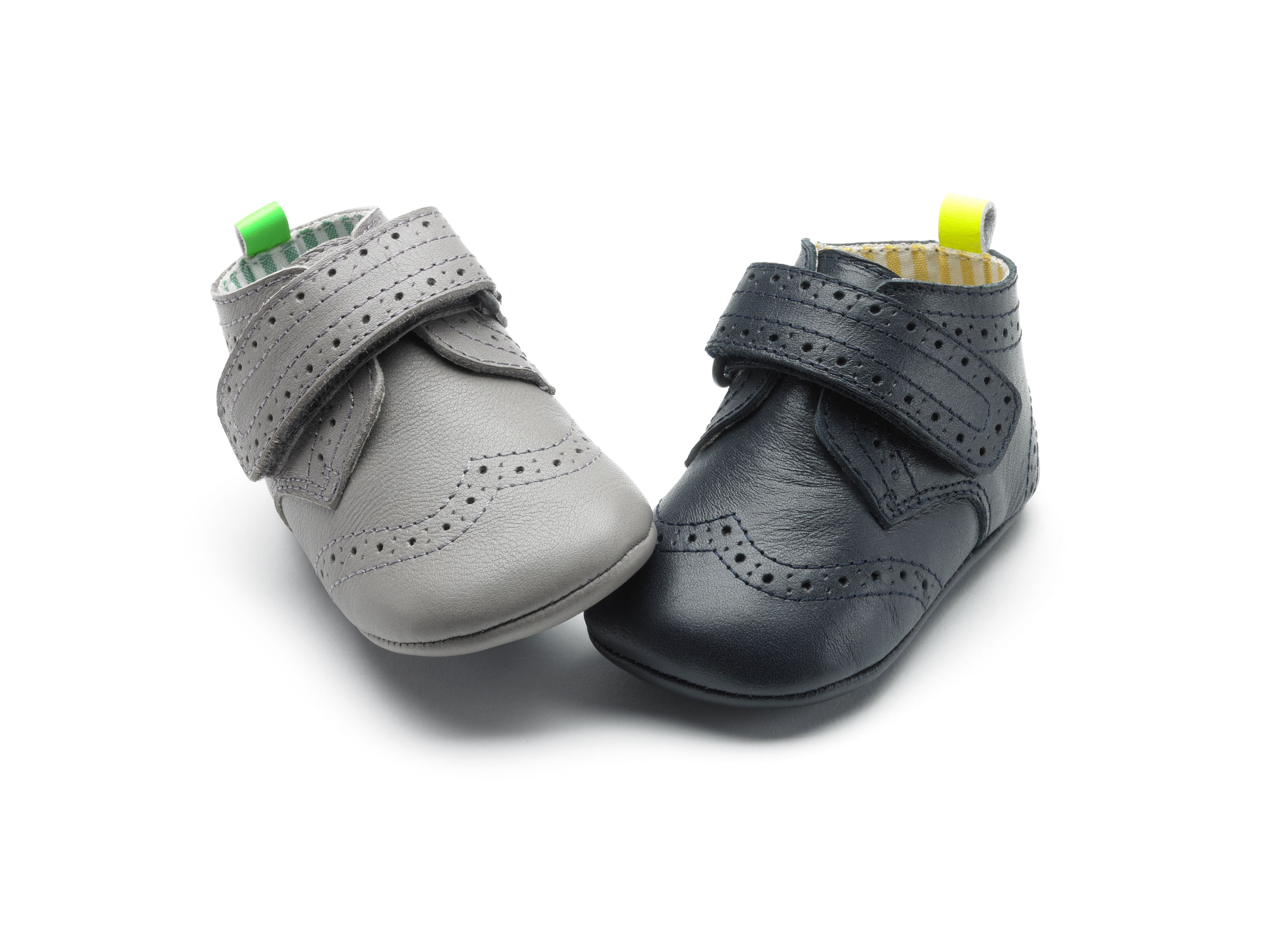 Classic but with a modern twist soft soled baby boys brogue shoe