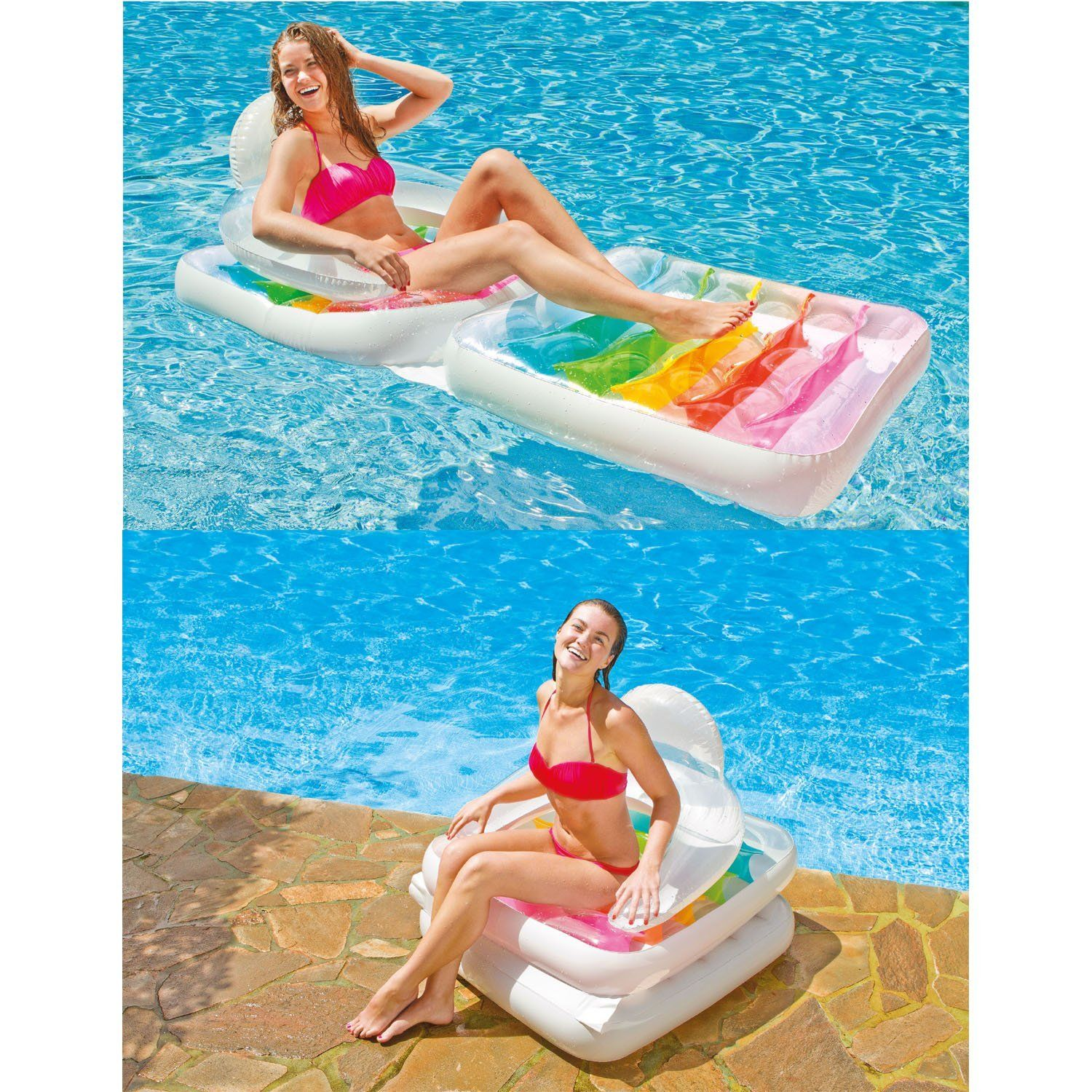 Intex  Inflatable Folding Beach Lounge Chair Lounger Lilo Pool Air Bed