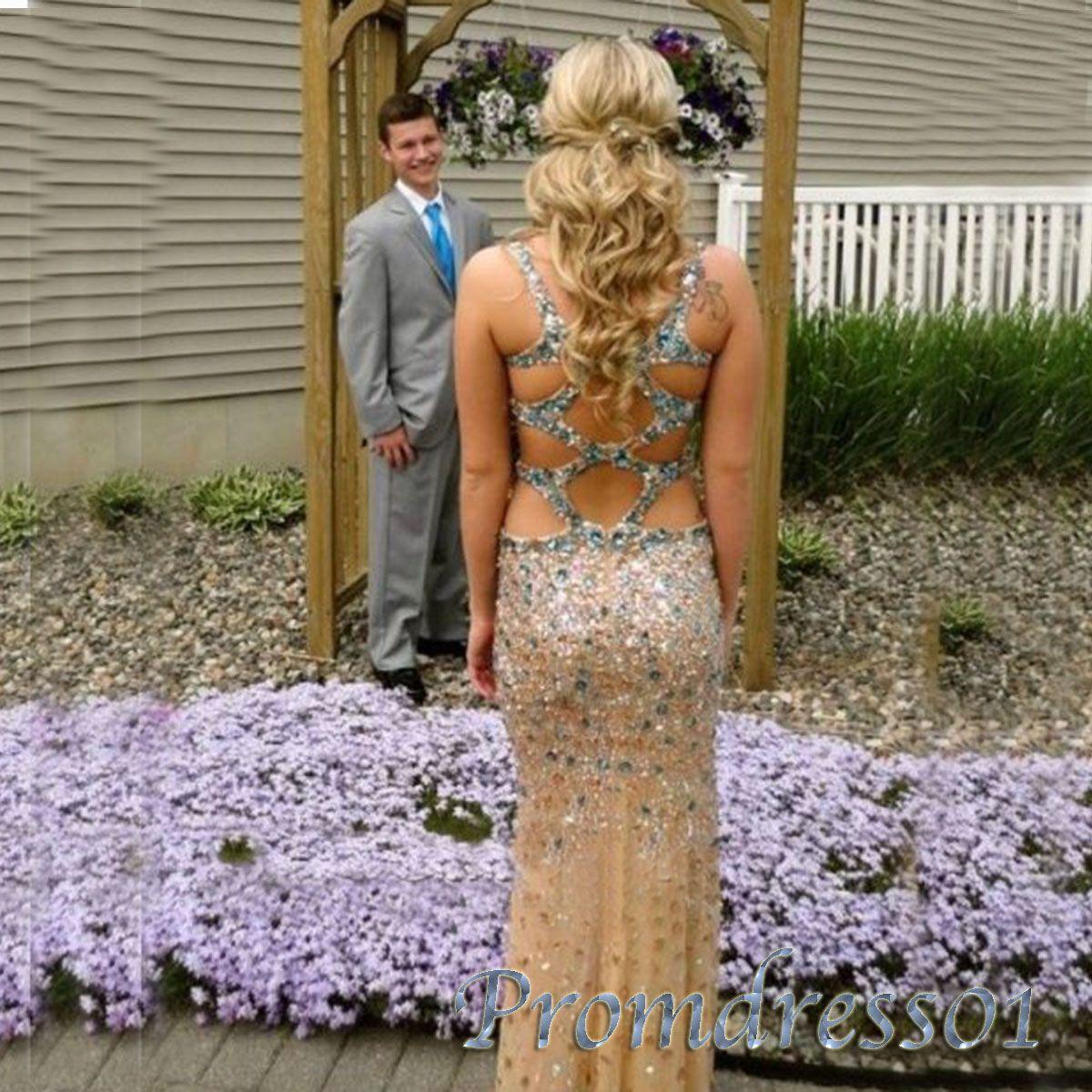 new golden rhinestone chiffon open back long prom dress ball