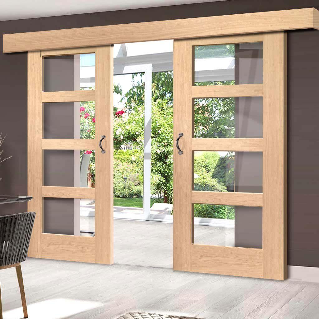 Double Sliding Door Wall Track Shaker Oak 4 Pane Doors Clear