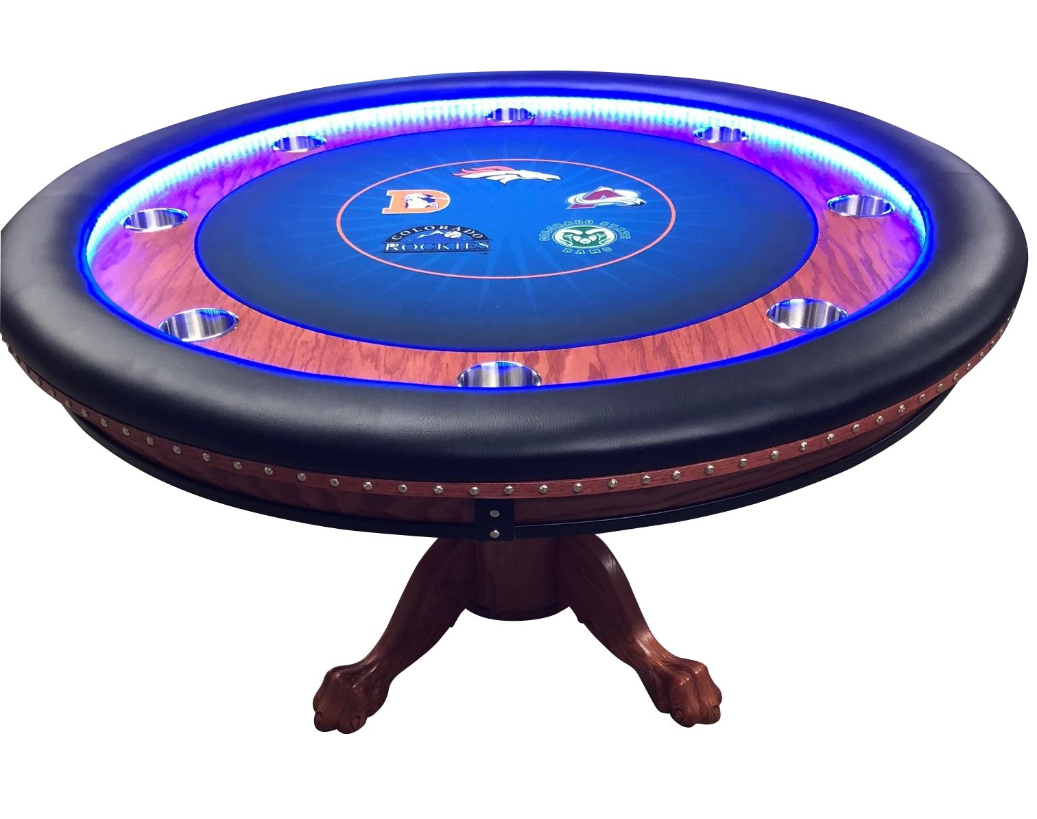 Pin By Thebestpokersite Com On Poker Tables With Lights Custom Poker Tables Poker Table Round Poker Table