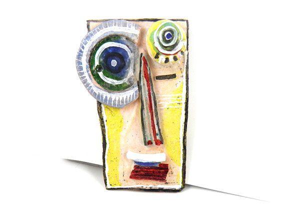 Máscara, cerámica abstracta (arte de la pared), arte de la pared 3D, máscara de cerámica, escultura hecha a mano de la decoración del hogar, cabeza de cerámica de la pared