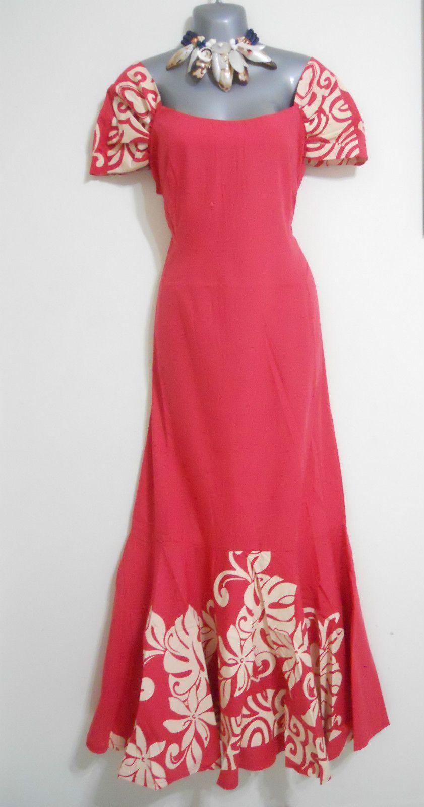 Hawaiian Muumuu Dresses Sz M L Pink Cream Hawaii Muu Muu Floral Moo ...
