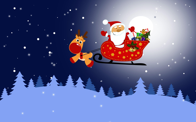 Santa In His Sleigh And Rudolph Wallpaper Christmas Raindeer Santa Sleigh Merry